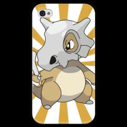 """Чехол для iPhone 4 глянцевый, с полной запечаткой """"Кубон"""" - нинтендо, nintendo, pokemon go, покемон го, cubone"""