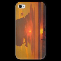 "Чехол для iPhone 4 глянцевый, с полной запечаткой ""Красный закат (картина Архипа Куинджи)"" - картина, архип куинджи"