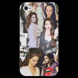 """Чехол для iPhone 4 глянцевый, с полной запечаткой """"Lana Del Rey"""" - певица, pop, lana del rey, лана дель рей"""