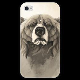 """Чехол для iPhone 4 глянцевый, с полной запечаткой """"Медведь"""" - арт, bear, grizzly, гриззли"""