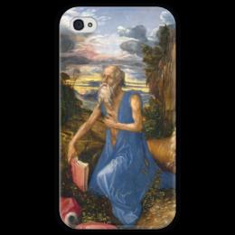 """Чехол для iPhone 4 глянцевый, с полной запечаткой """"Святой Иероним в пустыне"""" - картина, дюрер"""