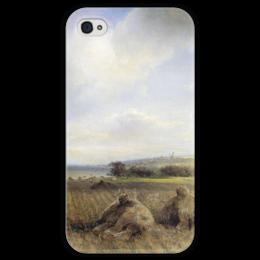 """Чехол для iPhone 4 глянцевый, с полной запечаткой """"К концу лета на Волге"""" - картина, саврасов"""