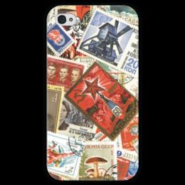 """Чехол для iPhone 4 глянцевый, с полной запечаткой """"Марки СССР"""" - ссср, ретро, ussr, марки, stamps"""