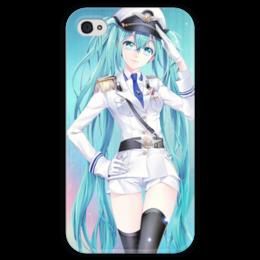 """Чехол для iPhone 4 глянцевый, с полной запечаткой """"Miku vocaloid"""" - anime, мику, miku vocaloid, мику хацуне"""