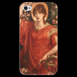 """Чехол для iPhone 4 глянцевый, с полной запечаткой """"Видение Фьямметты"""" - картина, россетти"""