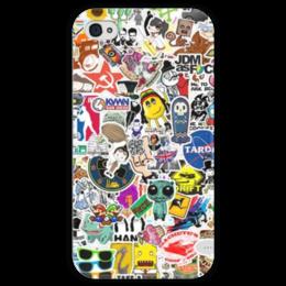 """Чехол для iPhone 4 глянцевый, с полной запечаткой """"sticker bombing"""" - iphone, jdm, sticker bombing, стикер арт"""