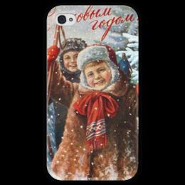 """Чехол для iPhone 4 глянцевый, с полной запечаткой """"Новый год"""" - праздник, дети, снег, телефон, новогодний"""