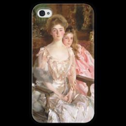 """Чехол для iPhone 4 глянцевый, с полной запечаткой """"Миссис Фиск Уоррен и ее дочь Рэйчел"""" - картина, сарджент"""
