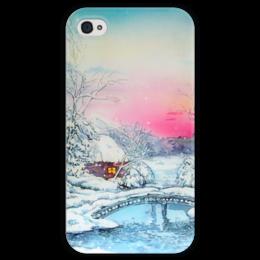 """Чехол для iPhone 4 глянцевый, с полной запечаткой """"Морозная зима."""" - winter, зима, снег, пейзаж, мороз, снежное"""