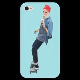 """Чехол для iPhone 4 глянцевый, с полной запечаткой """"Всегда молодой"""" - арт, скейт, скейтер, мейнстрим, старик"""