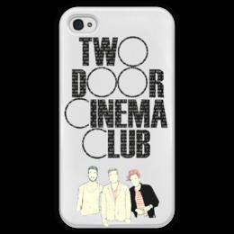 """Чехол для iPhone 4 глянцевый, с полной запечаткой """"two door cinema club"""" - indie rock, uk, индитроника"""
