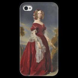 """Чехол для iPhone 4 глянцевый, с полной запечаткой """"Луиза Мария Орлеанская"""" - картина, винтерхальтер"""