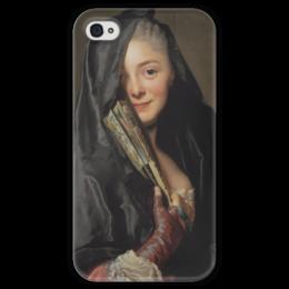 """Чехол для iPhone 4 глянцевый, с полной запечаткой """"Дама под вуалью (картина Рослина)"""" - картина, рослин"""