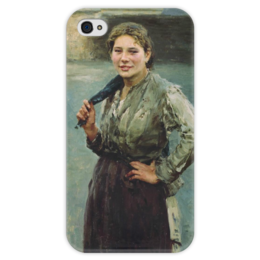 "Чехол для iPhone 4 глянцевый, с полной запечаткой ""Шахтёрка"" - картина, касаткин"