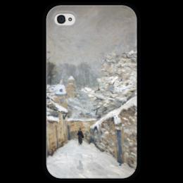 """Чехол для iPhone 4 глянцевый, с полной запечаткой """"Снег в Лувесьене"""" - картина, сислей"""