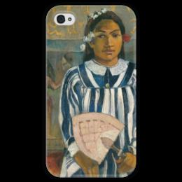 """Чехол для iPhone 4 глянцевый, с полной запечаткой """"Tehamana Has Many Parents"""" - картина, поль гоген"""