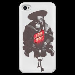 "Чехол для iPhone 4 глянцевый, с полной запечаткой ""Harm Sport"" - животные, animal, monkey, обезьяна"