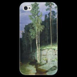 """Чехол для iPhone 4 глянцевый, с полной запечаткой """"На Валааме (картина Архипа Куинджи)"""" - картина, архип куинджи"""