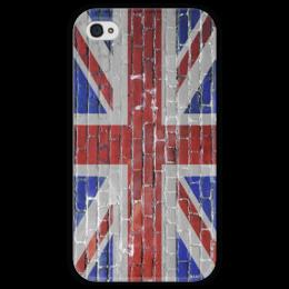 """Чехол для iPhone 4 глянцевый, с полной запечаткой """"UK flag"""" - флаг, flag, uk, great britain"""