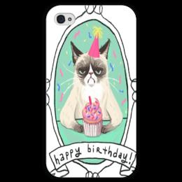 """Чехол для iPhone 4 глянцевый, с полной запечаткой """"Cat Happy Birthday"""" - коты, день рождения"""