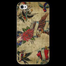 """Чехол для iPhone 4 глянцевый, с полной запечаткой """"Old School"""" - арт, tattoo, old school, тату"""