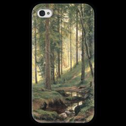 """Чехол для iPhone 4 глянцевый, с полной запечаткой """"Ручей в лесу"""" - картина, шишкин"""