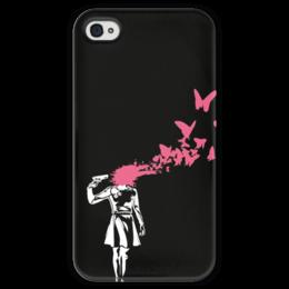 """Чехол для iPhone 4 глянцевый, с полной запечаткой """"Бабочки в голове"""" - бабочки, black, pink, butterflies, in your head"""