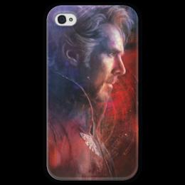 """Чехол для iPhone 4 глянцевый, с полной запечаткой """"Доктор Стрэндж"""" - доктор, комиксы, doctor, марвел, dr strange"""