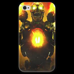 """Чехол для iPhone 4 глянцевый, с полной запечаткой """"Doom 4"""" - doom, демон, дум, выживший, revenant demon"""