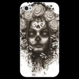 """Чехол для iPhone 4 глянцевый, с полной запечаткой """"Santa Muerte """" - череп, девушка, смерть, санта муерте"""