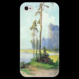 """Чехол для iPhone 4 глянцевый, с полной запечаткой """"Летний пейзаж. Сосны."""" - картина, саврасов"""