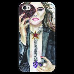 """Чехол для iPhone 4 глянцевый, с полной запечаткой """"Miss February / Мисс Февраль"""" - любовь, heart, девушке, мисс февраль"""