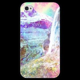 """Чехол для iPhone 4 глянцевый, с полной запечаткой """"сказочный мир """" - spring, sunshine, mountains, горы"""
