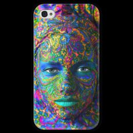 """Чехол для iPhone 4 глянцевый, с полной запечаткой """"Девушка"""" - девушка, цвета, голубой, рисунок, платок"""