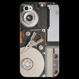 """Чехол для iPhone 4 глянцевый, с полной запечаткой """"NexT II"""" - ретро, фотоаппарат, телефон, касета, жесткий диск"""