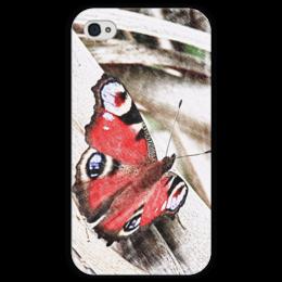 """Чехол для iPhone 4 глянцевый, с полной запечаткой """"Бабочка"""" - бабочка, лето, винтаж, природа"""