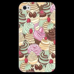 "Чехол для iPhone 4 глянцевый, с полной запечаткой ""I LOV YOU"" - cupcakes, капкейк, sweets"
