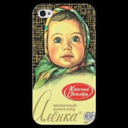 "Чехол для iPhone 4 глянцевый, с полной запечаткой ""Аленка 4"" - retro, шоколад, chocolate, аленка, tm kiseleva, красный октябрь"