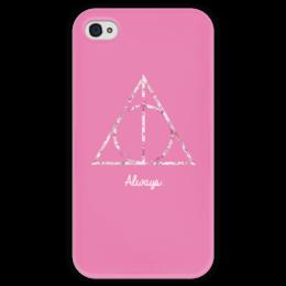 """Чехол для iPhone 4 глянцевый, с полной запечаткой """"Deathly Hallows"""" - harry potter, гарри поттер, хогвартс, hogwarts, always"""