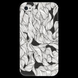 """Чехол для iPhone 4 глянцевый, с полной запечаткой """"Abstract ink pattern"""" - арт, узор, винтаж, абстракция, vintage"""