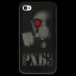 """Чехол для iPhone 4 глянцевый, с полной запечаткой """"Войска РХБЗ"""" - армия, противогаз, россия, знак радиация, рхбз"""