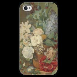 """Чехол для iPhone 4 глянцевый, с полной запечаткой """"Цветы в терракотовой вазе"""" - картина, бранд"""