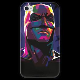 """Чехол для iPhone 4 глянцевый, с полной запечаткой """"Бэтмен"""" - комиксы, batman, dc, dc comics"""