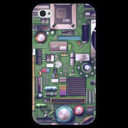 "Чехол для iPhone 4 глянцевый, с полной запечаткой ""Материнская плата"" - материнская плата, motherboard"