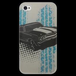 """Чехол для iPhone 4 глянцевый, с полной запечаткой """"muscle car"""" - машины, muscle car, масл"""