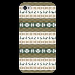 """Чехол для iPhone 4 глянцевый, с полной запечаткой """"Скандинавский узор"""" - узор, зима, орнамент, олень, снежинка"""