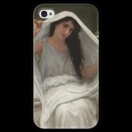 """Чехол для iPhone 4 глянцевый, с полной запечаткой """"Вуаль (Le voile)"""" - картина, бугро"""