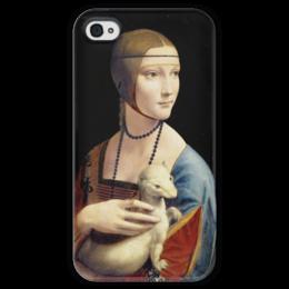 """Чехол для iPhone 4 глянцевый, с полной запечаткой """"Дама с горностаем (Леонардо да Винчи)"""" - картина, портрет, да винчи"""