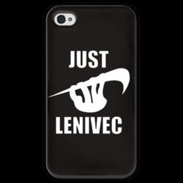"""Чехол для iPhone 4 глянцевый, с полной запечаткой """"Ленивец"""" - юмор, лень, ленивец"""