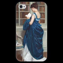 """Чехол для iPhone 4 глянцевый, с полной запечаткой """"Молодая девушка за чтением"""" - картина, тульмуш"""